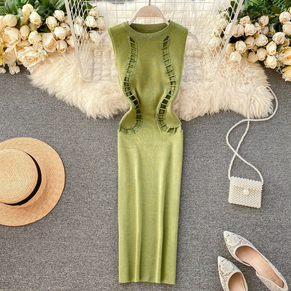 Vintage Slim hollow out Knitted club knee length Bodycon pencil - THEGIRLSOUTFITS
