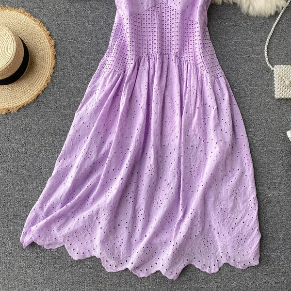 Vintage Hollow Out long tank sun tunic elegant a-line - THEGIRLSOUTFITS
