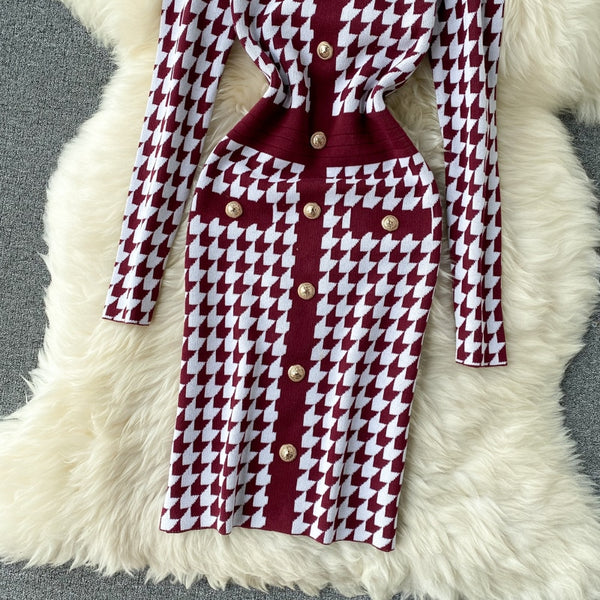Vintage Slim button plaid print Bodycon Knitted Sweater short sheath - THEGIRLSOUTFITS