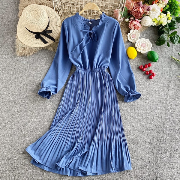 Vintage silm ruffled neck pleated long tunic bow fall elegant office - THEGIRLSOUTFITS
