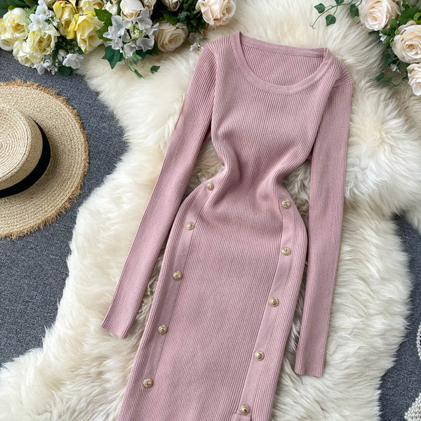 vintage button Slim Bodycon Knitted Sweater long elegant split tunic - THEGIRLSOUTFITS