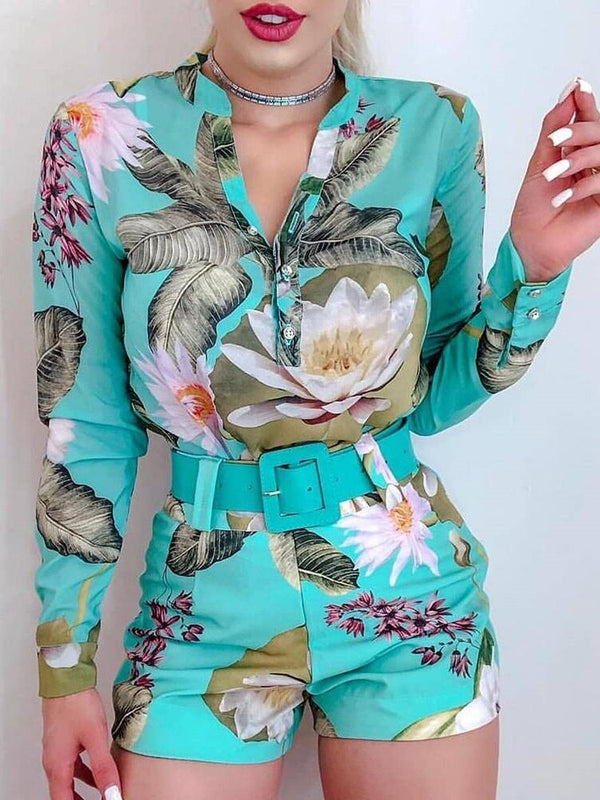 Tropical Print Long Sleeve Shirt & Shorts Set 2019 Summer Elegant Vacation Stylish Leisure Suit Sets Female Two Pieces - THEGIRLSOUTFITS