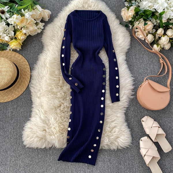 Vintage Slim Button Sweater Bodycon Knitted Pencil Office Soft - THEGIRLSOUTFITS