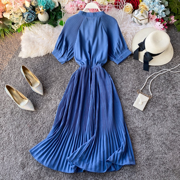 Vintage Slim bow long tunic elegant office high waist pleated - THEGIRLSOUTFITS