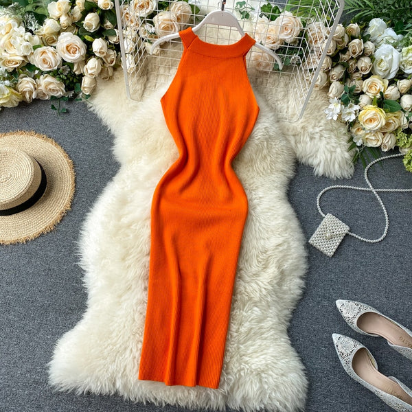 Vintage Slim halter neck Bodycon Knitted pencil cross criss bandage club knee length - THEGIRLSOUTFITS