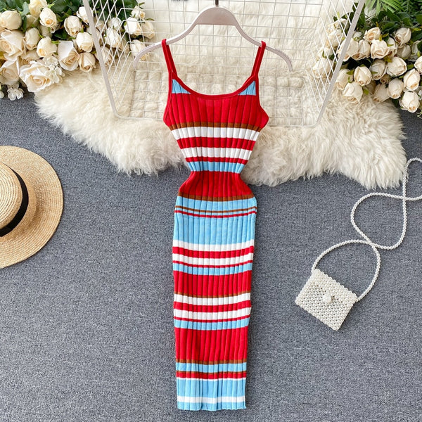 Vintage V Neck striped print Slim Bodycon Knitted short spaghetti strap Club - THEGIRLSOUTFITS