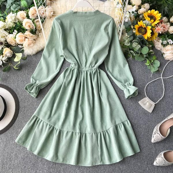 Vintage Slim Ruffles Bow Long Sleeve A-Line Retro Knee Length - THEGIRLSOUTFITS