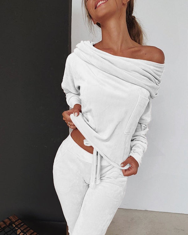Off Shoulder Pleuche Top + Trousers Set - THEGIRLSOUTFITS