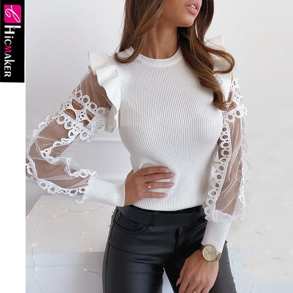 Mesh Lace Trim Frill Ribbed Blouse - THEGIRLSOUTFITS
