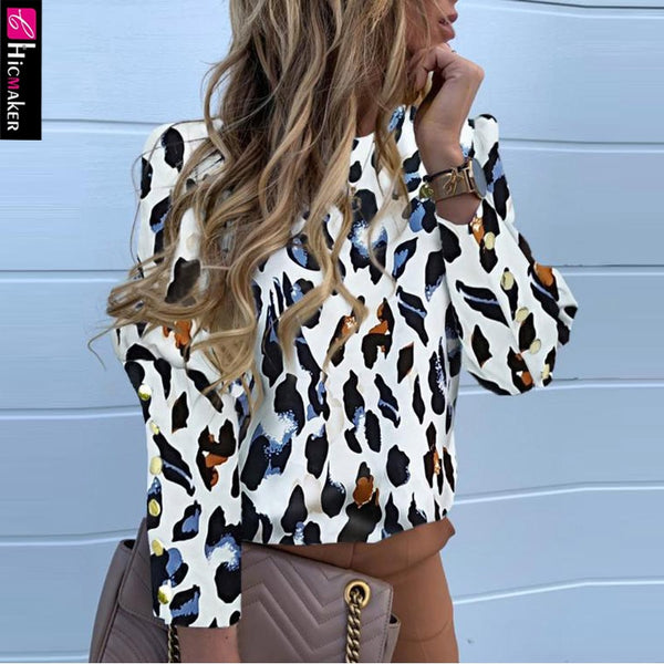 Petal Button Down O-neck Long Sleeve Leopard - THEGIRLSOUTFITS