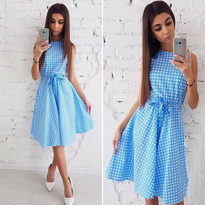 Casual Boho Dress Ladies Elegant Vintage Knee-Length