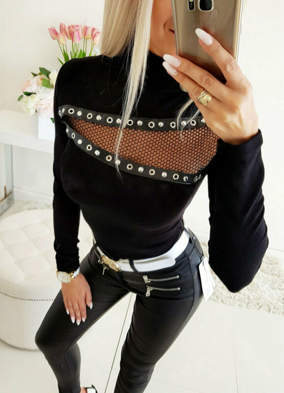 Long Sleeve Hollow Out High Neck - THEGIRLSOUTFITS