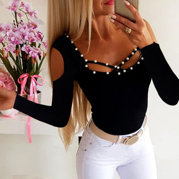Solid Black Beading Slim - THEGIRLSOUTFITS