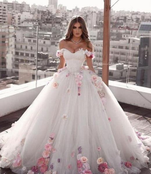 Amazing hand flowers Illusion Bodice Ball gown Bridal GownsThegirlsoutfits