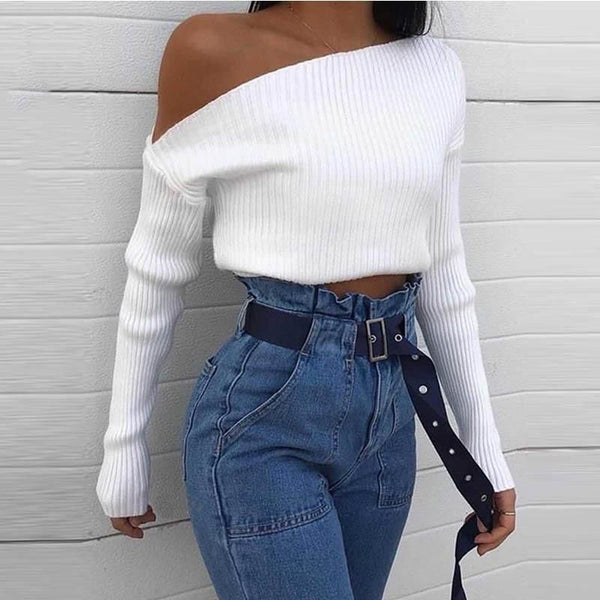White One-Shoulder Knitted Top - THEGIRLSOUTFITS