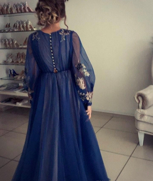 Blue appliqué long sleeve pleated dress - THEGIRLSOUTFITS