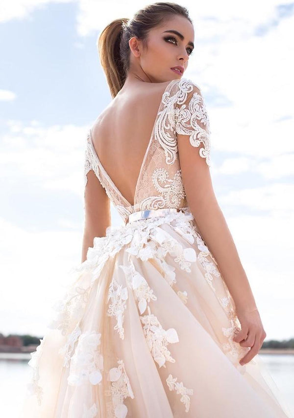 Wish Sash Sexy Backless Custom Made Bridal Gowns Applique Detachable Mermaid - THEGIRLSOUTFITS
