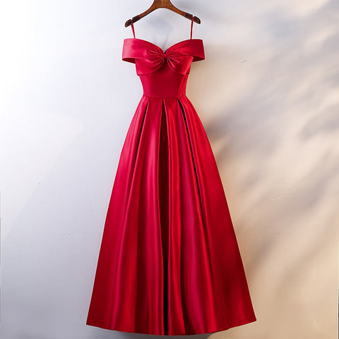 Satin Feel Red Dress Slash Neck BowThegirlsoutfits