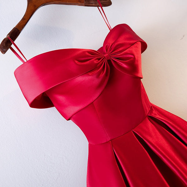 Satin Feel Red Dress Slash Neck Bow - THEGIRLSOUTFITS