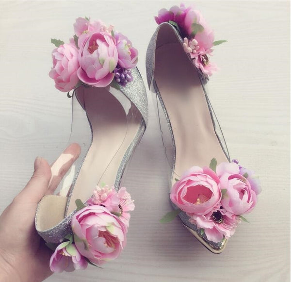 Flower Decor Bride Pointed Toe String - THEGIRLSOUTFITS