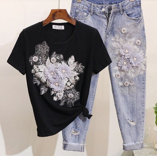 Sequined Beaded 3D Flower Set - THEGIRLSOUTFITS