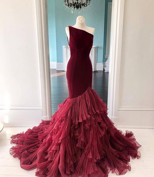 Velvet Mermaid  One Shoulder Ruffles Chiffon Tiered Gown - THEGIRLSOUTFITS