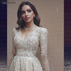 Luxury Long Sleeve  Princess V Neck Lace Wedding Gown - THEGIRLSOUTFITS