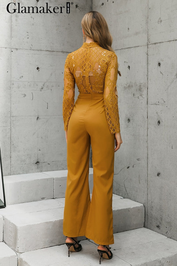 hollow out lace yellow jumpsuit - THEGIRLSOUTFITS