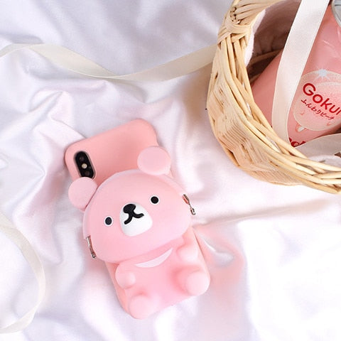 3D Bear Wallet Soft Silicone Case - THEGIRLSOUTFITS