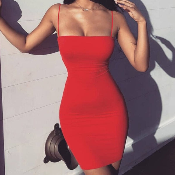 Thin Shoulder Strap Short Dress - THEGIRLSOUTFITS