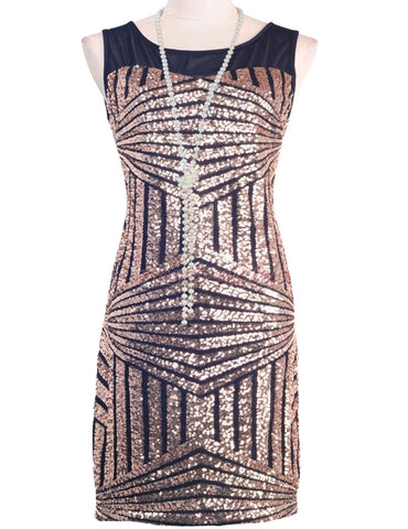 Mesh Insert Sequin Stripes Diamond Geometry Hollow BackThegirlsoutfits