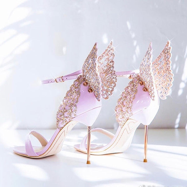 Crystal embellished butterfly wing decor glitter sandals - THEGIRLSOUTFITS