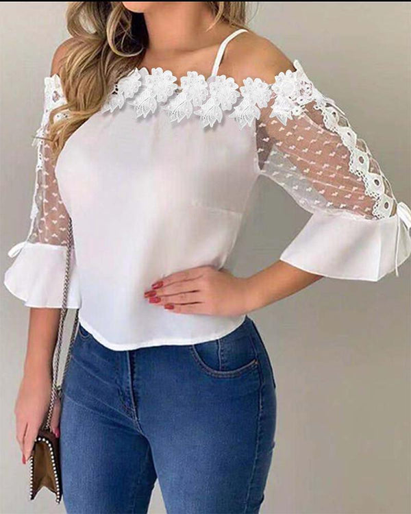 Lace Applique Cold Shoulder Blouse - THEGIRLSOUTFITS
