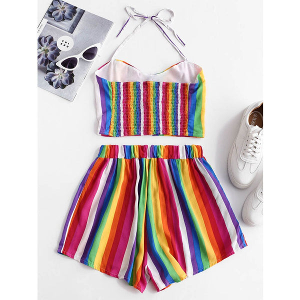 Two Pieces Set Rainbow Striped Smocked - THEGIRLSOUTFITS