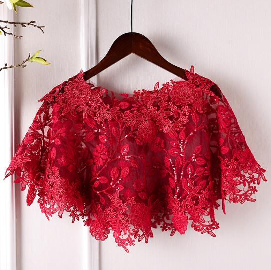 Lace embroidery Red Pashmina - THEGIRLSOUTFITS