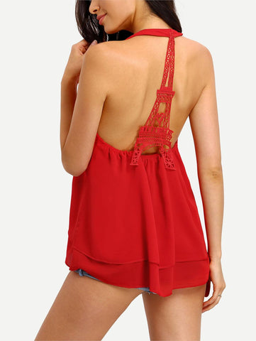 Image of Lace  Hollow Out Backless Chiffon BlouseThegirlsoutfits