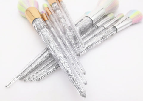 Image of unicorn rainbow face & eye professional make up brush kit tools.Thegirlsoutfits