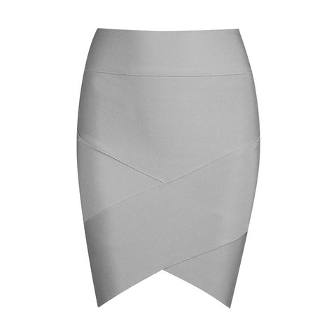 Image of Solid Irregular Mini  Bandage SkirtThegirlsoutfits