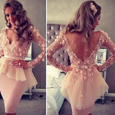 V Neck Long Sleeves Lace Flowers Peplum - THEGIRLSOUTFITS