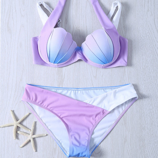 mermaid bikini swimsuit 4 gradient shell - THEGIRLSOUTFITS