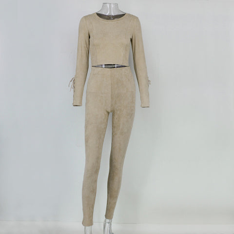 Image of Two Piece O Neck SuedeThegirlsoutfits