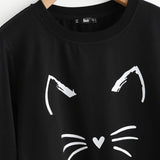 Cat Print Sweatshirt Long SleeveThegirlsoutfits