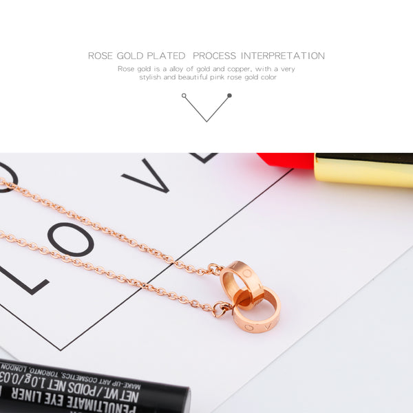 LOVE Necklace & Pendent Twin Circle - THEGIRLSOUTFITS
