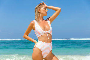 One Piece Swimsuit Striped Bodysuit