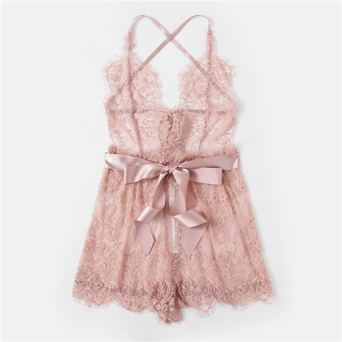 Ribbon Tie Waist Plunging Lace Sleep Romper - THEGIRLSOUTFITS
