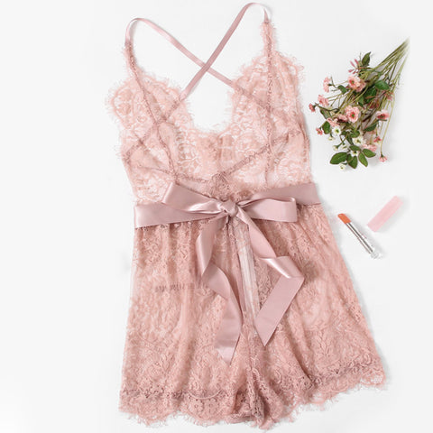 Ribbon Tie Waist Plunging Lace Sleep RomperThegirlsoutfits