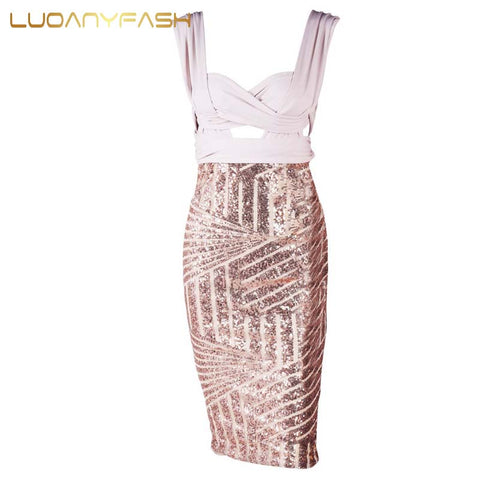 Sequin Geometry Cutout Gold Sequined DressThegirlsoutfits