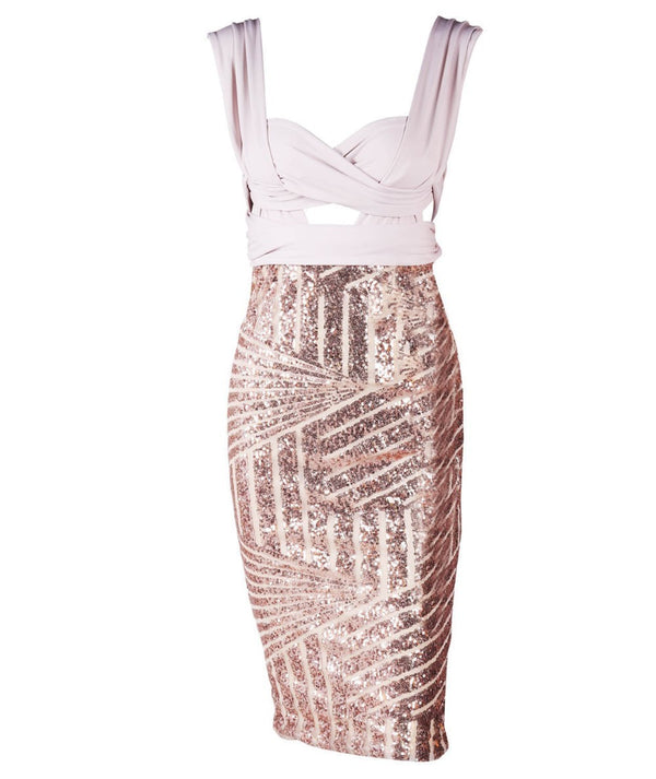 Sequin Geometry Cutout Gold Sequined Dress - THEGIRLSOUTFITS