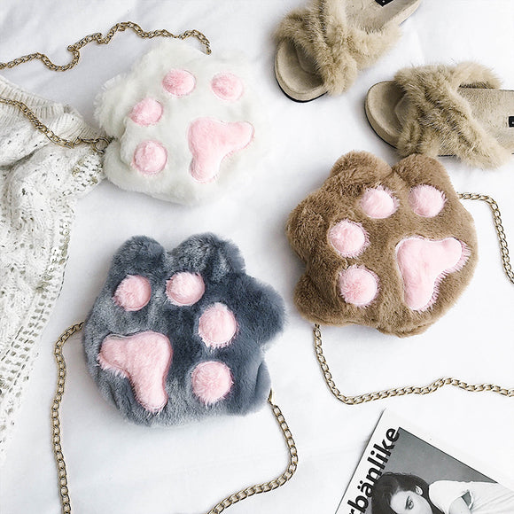 Cute Cat Paw Chain Bags