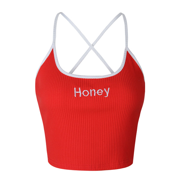 Crop Top  Honey Letter Embroidery Strap Tank - THEGIRLSOUTFITS